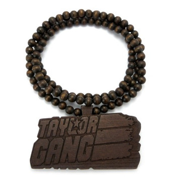 Taylor Gang Wooden Hip Hop Wood Pendant Brown