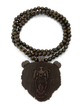 Roaring Bear Hip Hop Wooden Pendant Wood Brown