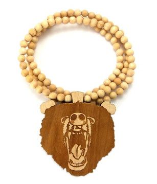 Roaring Grizzly Bear Hip Hop Wooden Pendant Natural