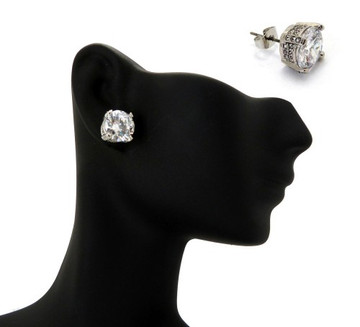 10mm Ice on Ice Round Cut Hip Hop Diamond Cz Earrings