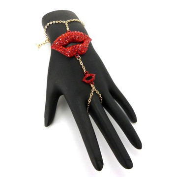 Lips Sexy Slave Bracelet Ring Combo Red