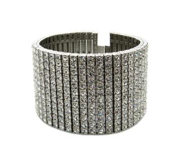 Mens Hip Hop 600 Stone Diamond Cz Bling Bracelet 925 Silver