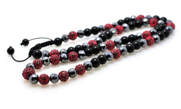 Red Stone Cz Shiny Disco Ball Iced Out Chain