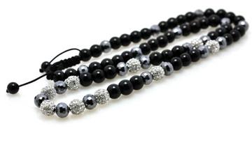 Silver Stone Metallic Shiny Disco Ball Bling Chain Necklace