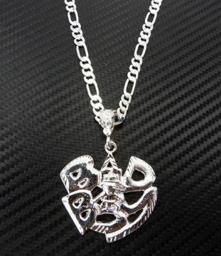 "Bad Boy Hip Hop Pendant w/ 24"" Figaro Chain Silver"