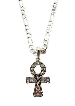 Diamond Cz Celtic Cross Pendant Chain Necklace Silver