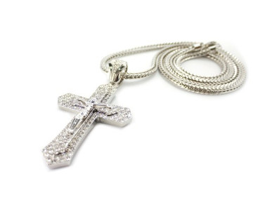 "Mens 3D Lifted JESUS Cross Pendant w/ 36"" Franco Link Silver"