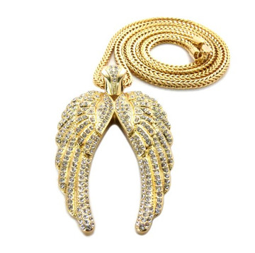 Hip Hop Angel Wings Diamond Cz Pendant w/ Franco Chain Gold