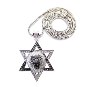 Lion of Judah Exotic Stone Iced Out Pendant w/ Chain Silver