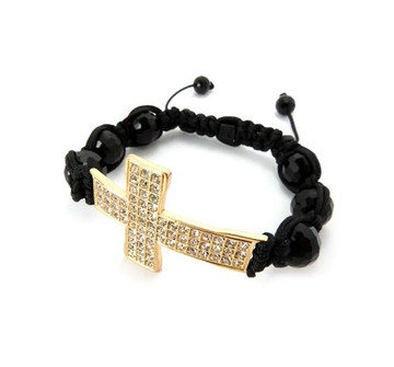Simulated Diamond 14k Gold Block Cross Beaded Bracelet