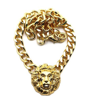 Celebrity Inspired Small Gold Lion Head Charm Necklace