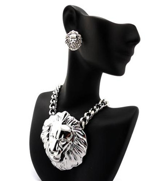 .925 Silver Silver Lion Head Pendant Earrings Set
