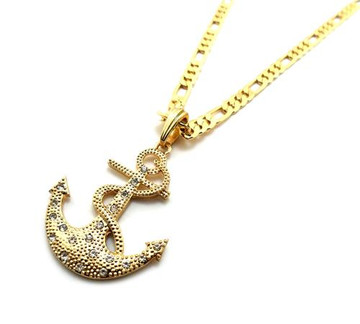 Anchor Cross Pendant w/ Figaro Chain Gold