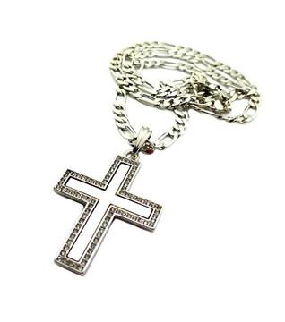 Deep Set Flat Cross Pendant w/ Figaro Link Chain Silver