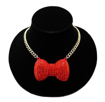 Big Love Bow Tie Ribbon Pendant Necklace / Orange Stones Gold
