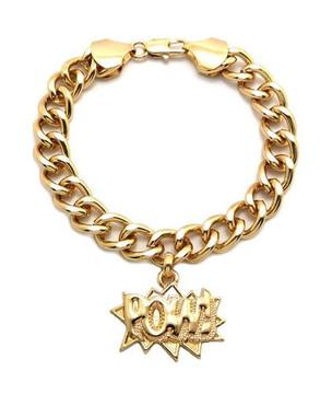 Chris Brown Big Sean Style POW Gold Bracelet