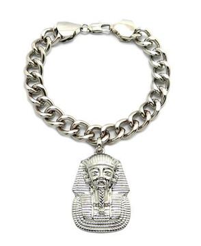 Pharaoh Hip Hop Silver Link Bracelet