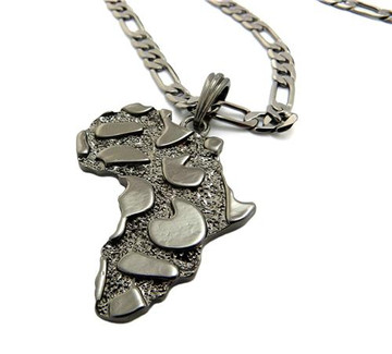 Mother Africa Nugget Pendant w/ Chain Black