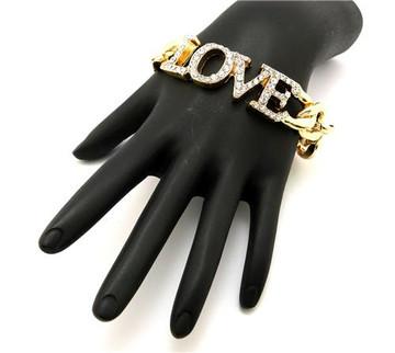 Ladies Cz Gold Love Bracelet