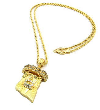 Micro JESUS Piece Iced Out Pendant w/ Rope Chain CZ Gold