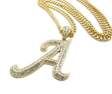 Iced Out Initial A Gold Pendant w/ Miami Cuban Link Chain