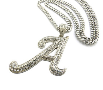 Iced Out Initial A Silver Pendant w/ Miami Cuban Link Chain