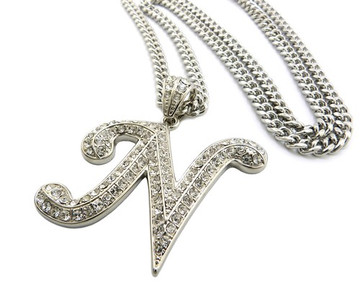 Iced Out Initial N Silver Pendant w/ Miami Cuban Link Chain