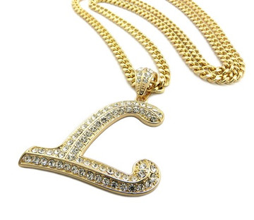 Iced Out Initial L Gold Pendant w/ Miami Cuban Link Chain