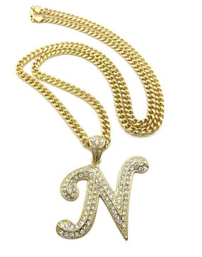 Iced Out Initial N Gold Pendant w/ Miami Cuban Link Chain