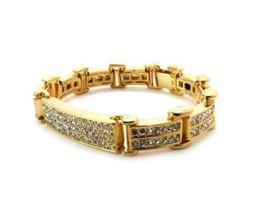 Mens 14k Gold ID Style Diamond Cz Hip Hop Bracelet