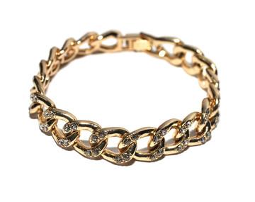 Mens Hip Hop Diamond Cz Cuban Link Chain Bracelet 14k Gold