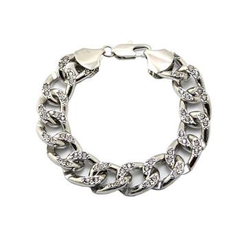 Mens Hip Hop Diamond Cz Cuban Link Chain Bracelet 925 Silver