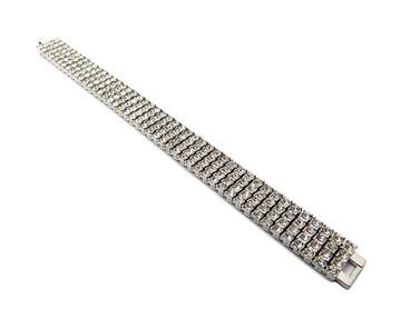 925 Silver Iced Out 4 Row Pharaoh Diamond Cz Bling Bracelet