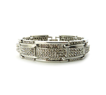 Mens 925 Sterling Silver Ring of Ice Diamond Cz Hip Hop Bracelet