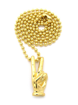 Peace Sign Hip Hop Hand Pendant Ball Chain