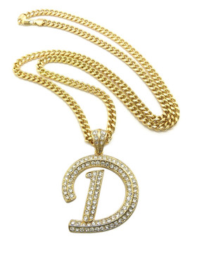 Iced Out Initial D Gold Pendant w/ Miami Cuban Link Chain