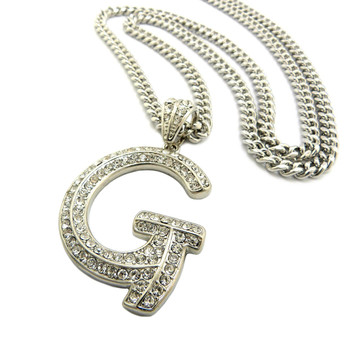 Iced Out Initial G Silver Pendant w/ Miami Cuban Link Chain