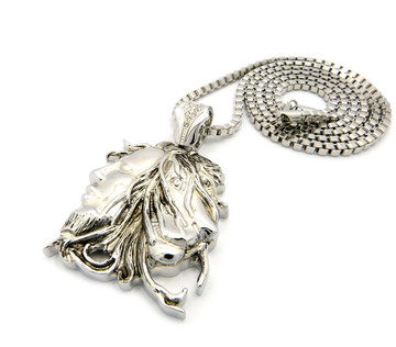 Bob Marley Inspired Lion Head Pendant Chain Necklace Silver