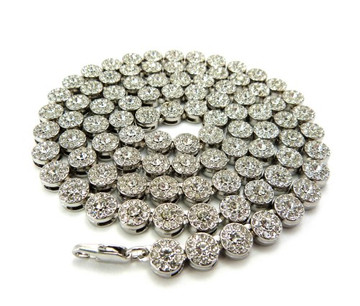 Men's Iced Out Cz Stone Cluster Chain Necklace Silver