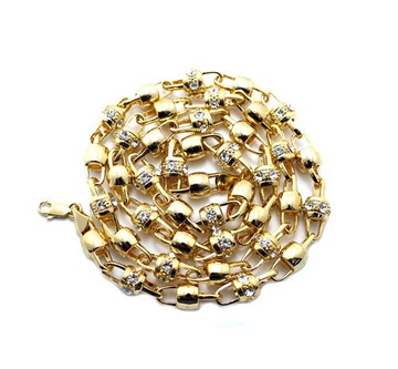 Iced Out Ball & Hook Cz Stone Chain Necklace 30 Inch Gold