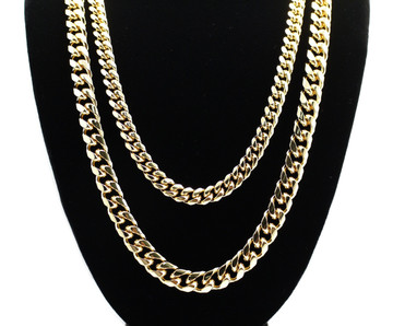 8mm 24 and 10mm 30 Inch Miami Cuban Link Chain Gold Set