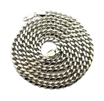 8mm 24 and 30 Inch Miami Cuban Link Chain Necklace Silver Set