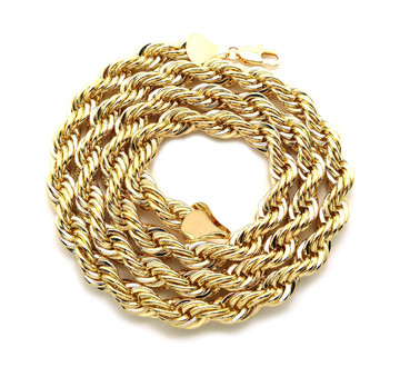 Men's Hip Hop Gold 10mm 30 Inch Rope Chain Necklace