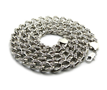 "Mens Hip Hop 30"" Cz Stone Cuban Link Chains Necklace Silver"