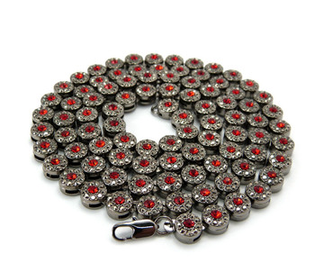 Men's Hip Hop Cluster Iced Out Chain Necklace Black & Red