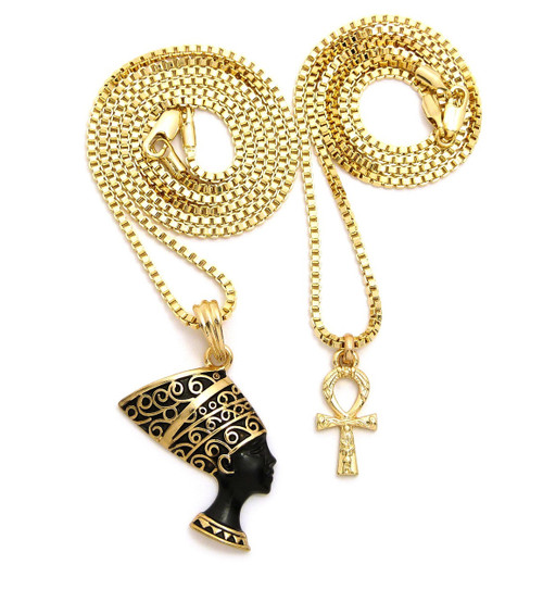Egyptian jewelry egypt jewelry africa jewelry africian jewelry 14k gold black african queen nefertiti ankh cross pendant chain aloadofball Image collections