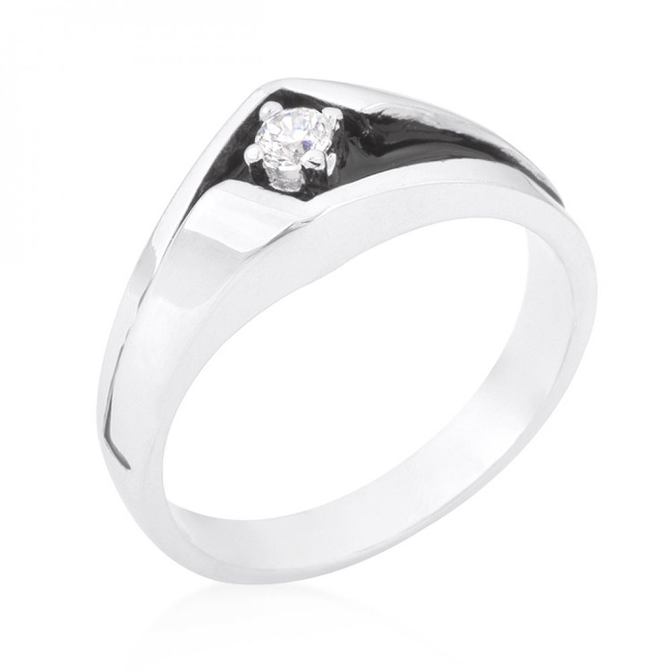 Mens Two-tone Sleek Center Stone Rhodium Silver Overlayed Ring