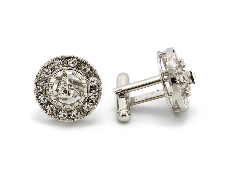 Men's Iced Out Circle Center Stone Cz Cuff Links