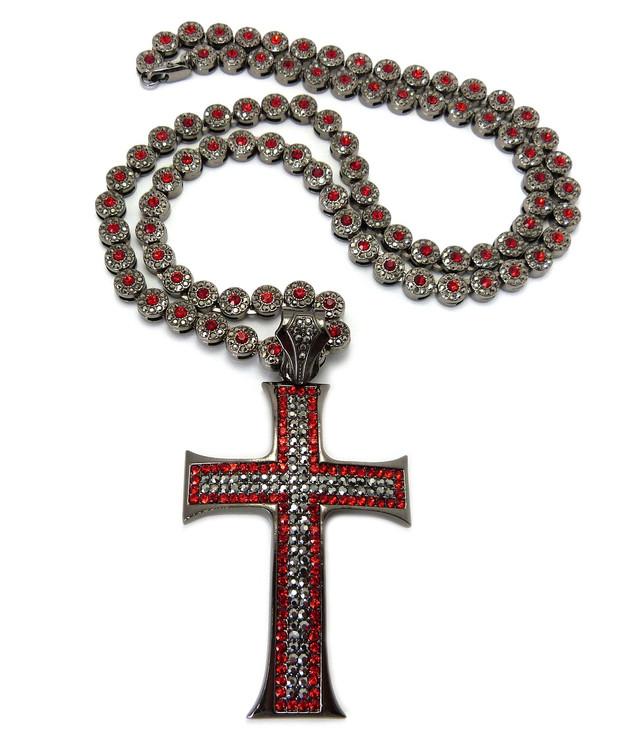 Mens Hip Hop Cluster Chains Classic Cross Pendant Black