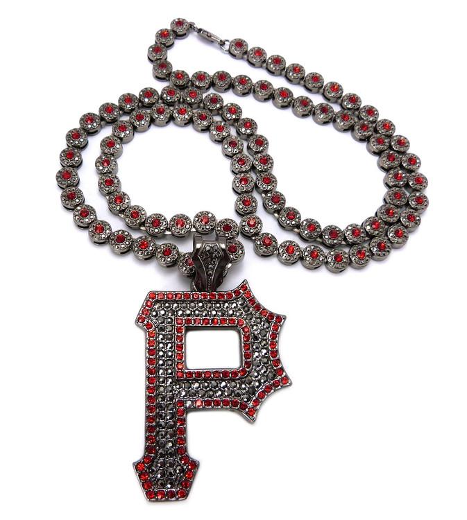 Pittsburgh P Hip Hop Cluster Chain Diamond Cz Pendant Red